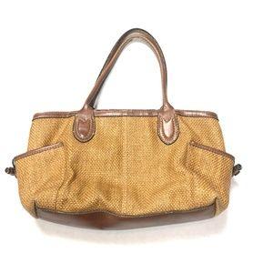 Fossil Women's Leather Straw Purse Bag Wicker